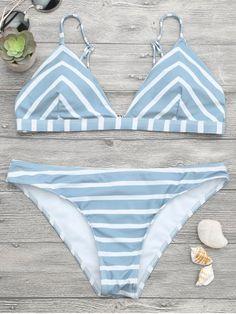 Chevron Striped Cami Bikini Set - BLUE AND WHITE L