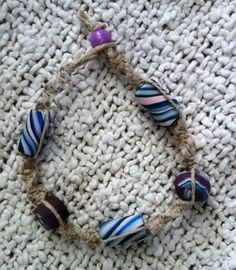 Hemp Bracelet, natural hemp and handmade clay beads in purple, pink and blue, hippie bracelet