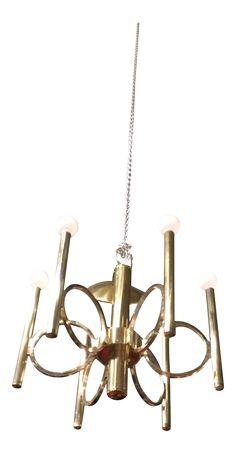 Mid-Century Modern Brass Chandelier on Chairish.com