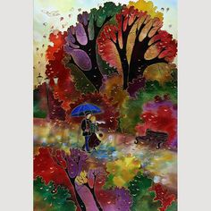 PAINTING on Silk GICLEE Print  FALLALLEY   Series by SilkByLena, $55.00