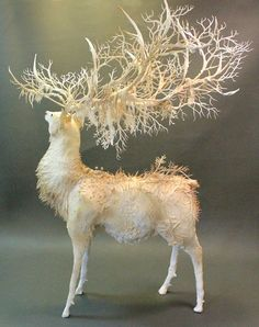 White Stag original handmade OOAK clay art creaturesfromel