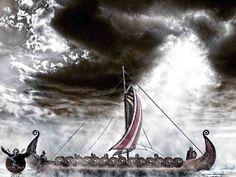 Viking Longship by thecasperart on DeviantArt Viking Longship, Germanic Tribes, Viking Ship, Mythology, Medieval, Horses, Deviantart, History, World