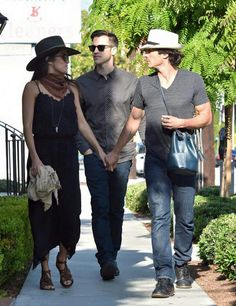 Nikki and Ian Somerhalder - it is great how much he loves her but I wish it didn't extend to carrying one of her purses - it looks silly. She needs to design a real man bag for him, please! The Vampire Diaries, Damon Salvatore, Nina Dobrev, Louisiana, Ian Somerhalder Nikki Reed, Ian And Nikki, Hollywood Celebrities, Real Man, West Hollywood