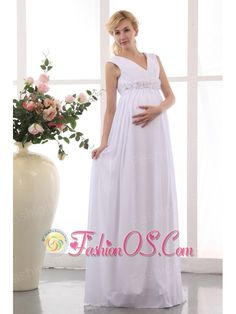 Beautiful Empire V-neck Maternity Wedding Dress Chiffon Hand Made Flowers Floor-length  http://www.facebook.com/quinceaneradress.fashionos.us  www.fashionos.com  If you have a baby before your wedding this dress is the best choice for you. It features cap sleeves and forms a V neckline the classy petal shaped ornament on the waistline will make you to as graceful as the godness.The versatile skirt is textured as well as comfortable. A hidden zipper makes for easy off and on