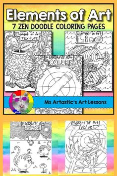 Learn about the Elements of Art with 7 zen tangle coloring pages to allow for educational, mindful coloring in your classroom. This product includes coloring pages for Color, Value, Line, Texture, Space, Shape, and Form.