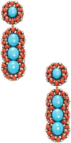 Arthur Marder Fine Jewelry Women's Diamond, Coral, Turquoise, 14K Gold & Sterling Silver Earrings