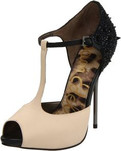 """Sam Edelman Womens Scarlett T Strap Sandal in ivory leather and black spikes with 4.5"""" metal stiletto and 0.5"""" platform"""