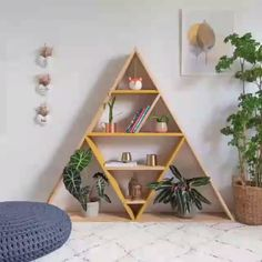 32 Popular Simple Bookshelf Ideas Best For Living Room Decor - The first thing you should do when you are on a tight budget and are looking for bookshelves is to hit garage sales, flea markets and thrift stores. Triangle Bookshelf, Simple Bookshelf, Triangle Shelf, Hanging Bookshelves, Crate Bookshelf, Bookshelves Kids, Bookshelf Ideas, Pallet Bookshelves, Diy Wooden Shelves