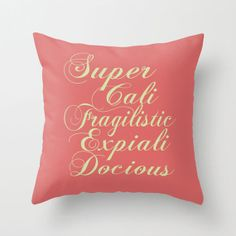 Throw Pillow Cover SuperCaliFragilisticExpialiDocious - Mint Coral - 16x16, 18x18, 20x20 - Nursery Original Design Home Décor by Adidit