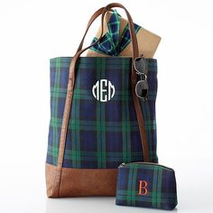 Navy Watch Plaid Tote | Mark and Graham