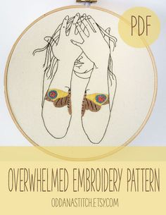 Embroidery Patterns,  Hand Embroidery Patterns, Girl with tattoo
