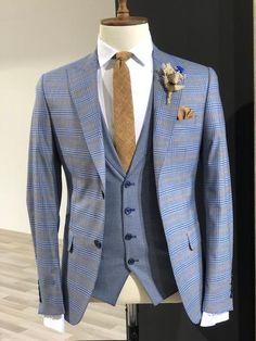 Collection : SPRİNG - SUMMER : Slim-Fit plaid suit vest Indigo Color code : Indigo Available Size : material : viscose , polyester , elestan Machine washable : No Fitting : slim-fit Cutting : double button, double slitsRemarks : Dry Cleaner Black Suit Vest, Blue Plaid Suit, Grey Suit Men, Plaid Jacket, Mens Fashion Suits, Mens Suits, Fashion Outfits, Suit Combinations, Der Gentleman