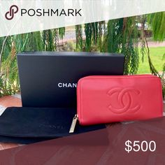 cb383cefc45c37 CHANEL Pretty Coral Cavier Leather ZipWallet w/Box Gorgeous coral authentic  Chanel cavier leather zip around long wallet includes ultrasuede dustbag  and ...