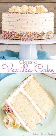 This Classic Vanilla Cake pairs fluffy vanilla cake layers with a silky vanilla . This Classic Vanilla Cake pairs fluffy vanilla cake layers with a silky vanilla buttercream. The perfect cake for bi Cupcake Recipes, Baking Recipes, Cupcake Cakes, Dessert Recipes, Vanilla Cake Recipes, Vanilla Birthday Cake Recipe, Cake Birthday, Best Birthday Cake Recipe, Vanilla Frosting For Cake