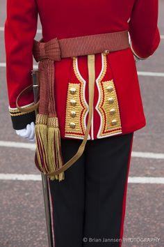 Uniform Detail, London - Photography by Brian Jannsen British Army Uniform, Merry Widow, Uniform Dress, Kings Man, Uniform Design, England Fashion, White Feathers, London Photography, Shades Of Red
