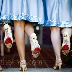 The bride wrote heartfelt messages on the bottom of the bridesmaids' shoes...I HAVE to do this.