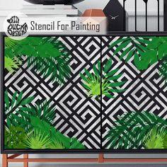 GEO JUNGLE STENCIL - Leaf Forest Plant Tropical Geometric Wall Furniture Floor Set of 8 Stencil for Painting - GEOJ01