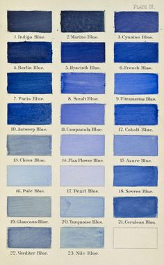 Different relative values of blue. We're recommending a deep indigo blue with hints of purple. Pantone, Love Blue, Blue And White, Kind Of Blue, Arte Sharpie, Flax Flowers, Bleu Indigo, Blue Rooms, Blue China
