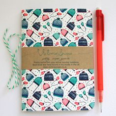 Cosy winter woollies- hand bound recycled paper notebook £6.00
