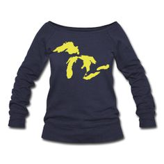 Womens Wideneck Sweatshirt ~ Just Michigan Women's Wide Neck Sweatshirt ~ 1564