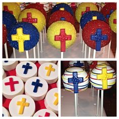 Baptism cakepops and chocolate covered Oreos.