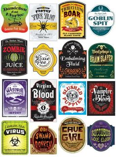 ... | Halloween Labels, Potion Labels and Halloween Bottle Labels