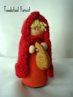 Waldorf Inspired Little Red Riding Hood Peg by TheToadstoolForest