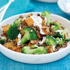 Roasted kumara, lentil and broccoli salad - Healthy Food Guide Lentil Recipes, Vegetable Recipes, Vegetarian Recipes, Healthy Recipes, Vegan Recepies, Veggie Meals, Yummy Recipes, Diet Recipes, Sweet Potato Chili