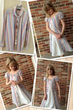 Mens dress shirt re-make / up cycle.   Does your husband have a shirt he would never wear. Sorry to the well meaning gift giver but this rainbow shirt has been hanging in the closet for years! Remake that shirt into an adorable dress for your daughter! So cute and sew-easy!  www.etsy.com/shop/LurveKids