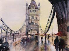 """Original watercolor painting - """"Tower bridge"""" - London city, london art, london painting, london watercolor, bridge painting, bridge art"""