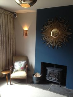 FB elephants breath- wall skimming stone ceiling and hague blue accent