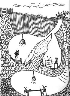 "Fourth grade students reviewed prior lessons based on narrative artwork and viewed Surrealistic and other fantasy narrative art. We looked at Saul Steinberg's ""Continuous Miner"" and discussed how the artist used repetitive lines that produced a simulated texture in the ""ground"" area. Students drew a normal above ground scene with an imaginative world below, and filled in the surrounding area with simulated textural designs."