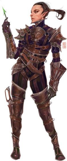 f High Elf Rogue Assassin Med Armor poison urban City traveler Needler Female lg Fantasy Races, Fantasy Warrior, Fantasy Rpg, Female Elf, Female Knight, Character Costumes, Character Art, Character Design, Elf Characters
