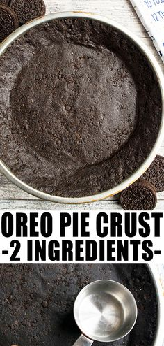 OREO PIE CRUST RECIPE- Homemade, DIY, classic, no bake pie crust, made with 2 simple ingredients. This is best for many desserts like cheesecake and tarts. From CakeWhiz.com #pie #piecrust #oreos #thanksgiving #dessert #dessertrecipes #cookies