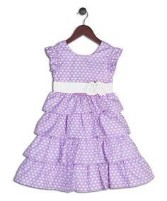 Look what I found on #zulily! Purple Polka Dot Ruffle Dress - Infant, Toddler & Girls by Joe-Ella #zulilyfinds 9 mos & up