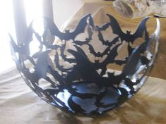 Cut-Out Styled Bat Bowl. Oh, the shadows it would cast with a candle in it!