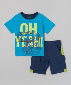 Blue 'Oh Yeah' Tee & Black Shorts - Toddler & Boys