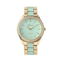 Women's Geneva Platinum Rhinestone Accent Two Tone Link Watch ($30) ❤ liked on Polyvore featuring jewelry, watches, mint, platinum jewellery, mint jewelry, rhinestone jewelry, two tone jewelry and platinum jewelry
