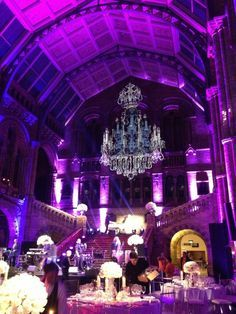 Incredible chandelier photo projection at Central Hall at the Natural History Museum. I wonder if I could do this at a smaller and cheaper scale with a regular projector. Purple Wedding, Wedding Colors, Our Wedding, Dream Wedding, Gatsby Wedding, Wedding Ideas, Wedding 2015, Wedding Wishes, Wedding Rentals