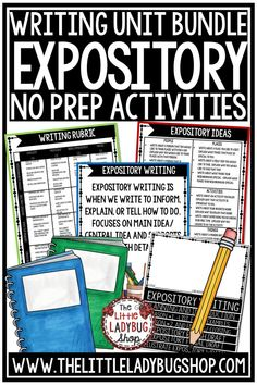 You will LOVE this Expository Unit of Writing this packet is perfect for students in Third Grade, Fourth Grade, and Fifth Grade. This packet was created to assist in teaching this writing skill. It contains components from my lessons and activities I use to teach my students. #expositorywriting #informationalwriting #fourthgradewriting #writingexpository #staarwriting #tekswriting #4thgradewriting