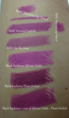 Black Radiance African Violet & Plum Orchid make a good dupe of MAC Heroine but not matte ~ Purple Lipstick Comparison