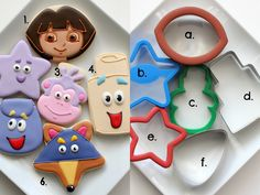 dora the explorer cookie cutter set - Yahoo Image Search Results Cookies For Kids, Fancy Cookies, Iced Cookies, Royal Icing Cookies, Sugar Cookies, Cookies Decorados, Galletas Cookies, Dora Cake, Cookie Tutorials