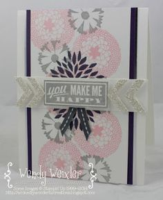 Wickedly Wonderful Creations: Freaky Mish-Mash! Stamps: Petal Parade, Hello Lovely Paper: Whisper White, Silver Foil, Silver Glimmer Paper Ink: Blushing Bride, Smoky Slate, Elegant Eggplant Accessories: Chevron Border Punch, Basic Gray Stitched Grosgrain Ribbon