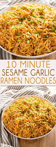 Sesame Garlic Ramen Noodles Recipe - The best ramen noodle recipe made easy at home with a simple and super flavorful sauce! Learn how to make ramen taste even better in a snap! made ramen noodle recipe SESAME GARLIC RAMEN NOODLES RECIPE Asian Recipes, New Recipes, Recipes Dinner, Easy Chinese Food Recipes, Spanish Recipes, Cheap Recipes, Garlic Recipes, Japanese Recipes, Healthy Snack Recipes