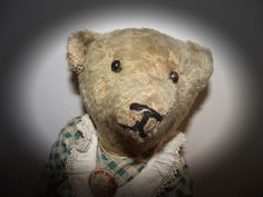 "ADORABLE ANTIQUE MOHAIR JOINTED TEDDY BEAR WITH GLASS EYES 22"" TALL"