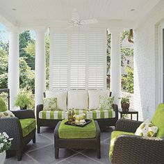 Louvered shutters for privacy-Porches and Patios: Private Porch - Porch and Patio Design Inspiration - Southern Living Home Design, Patio Design, Design Ideas, Design Inspiration, Terrace Design, Interior Design, Modern Interior, Garden Design, Outdoor Rooms