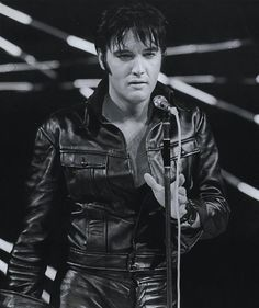 Black leather stand-up part of his NBC-TV Special, 1968. Elvis Presley.
