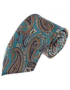 FLATSEVEN Mens Classic Paisley Pattern Neck Tie (YA015) Green #HALLOWEEN
