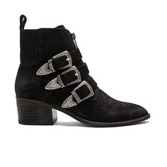 Dolce Vita Scott Bootie ($200) ❤ liked on Polyvore featuring shoes, boots, ankle booties, booties, ankle boots, bootie boots, mid heel boots, buckle ankle booties and short boots