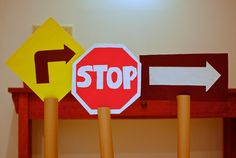 DIY Cardboard cars, road signs and stop lights!